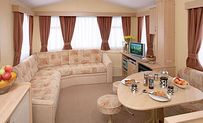 Typical layout and interior of a static caravan holiday home at Looe Country Park